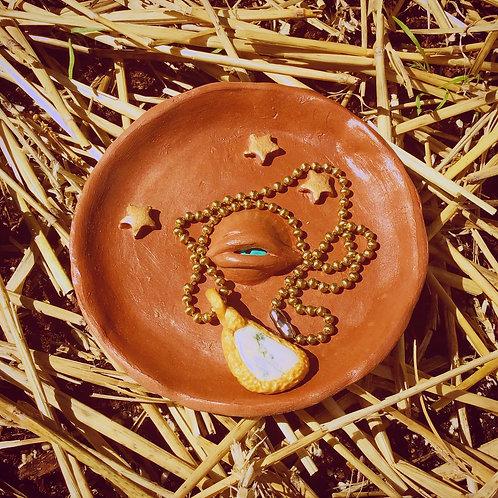 Artemis Full Moon Celestial Evil Eye Terra Cotta Trinket Tray Jewelry Dish