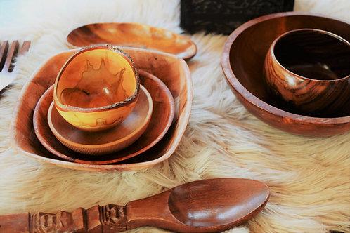 Sebec Square Vintage Woven Wooden Large Display Salad Bowl Tableware