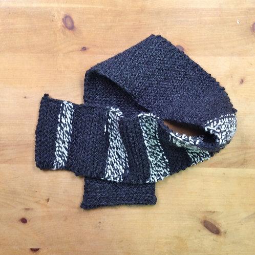 Gilead Gray + Cream Striped Warm Wool Blend Oversized Rectangular Scarf