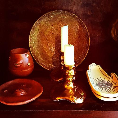 Old Foley Metallic Bronze Glazed Ceramic Vintage Candle Holders