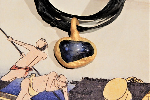 Bia Blue Quartz Stone + Gold Clay Sculpted Pendant Necklace