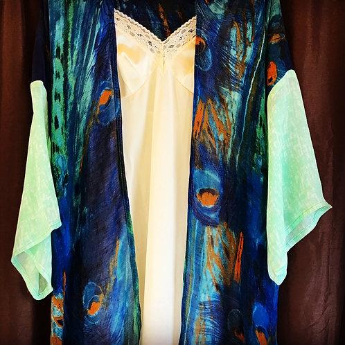 Petra Peacock Feather Printed Blue + Orange Woven Kimono Jacket Robe Wrap