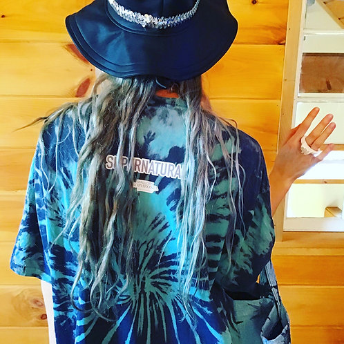 Supernatural Mushroom Teal + Gray Oversized Short Sleeve Tie Dye Shirt Top