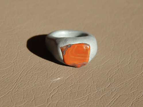 Obsessed Orange Agate Crystal Stone + Silver Sculpted Clay Finger Ring