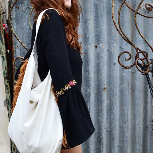 Valentina Fringe Cotton Hobo Bag