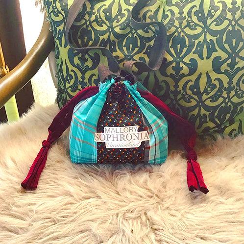 Teal Plaid, Brown Floral + Maroon Reversible Drawstring Bucket Shoulder Bag