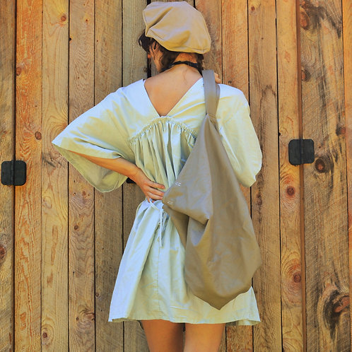 Cholette Oversized Button Down Gathered Tunic Tie Dress