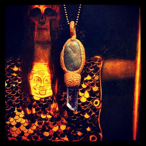 Glenda Green Jasper Angel Quartz Golden Key Pendant Amulet Necklace Charm