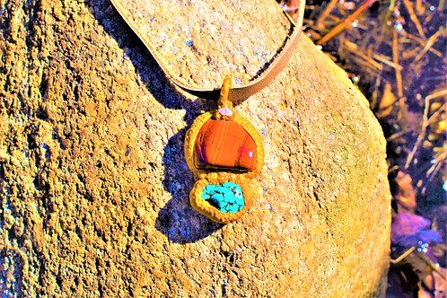 Sedona Red Jasper Turquoise Howlite Amulet Pendant Necklace Charm