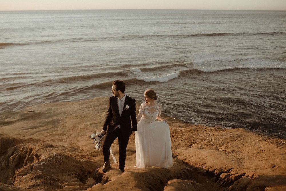 Bride and Groom at Sunset at Sunset Cliffs