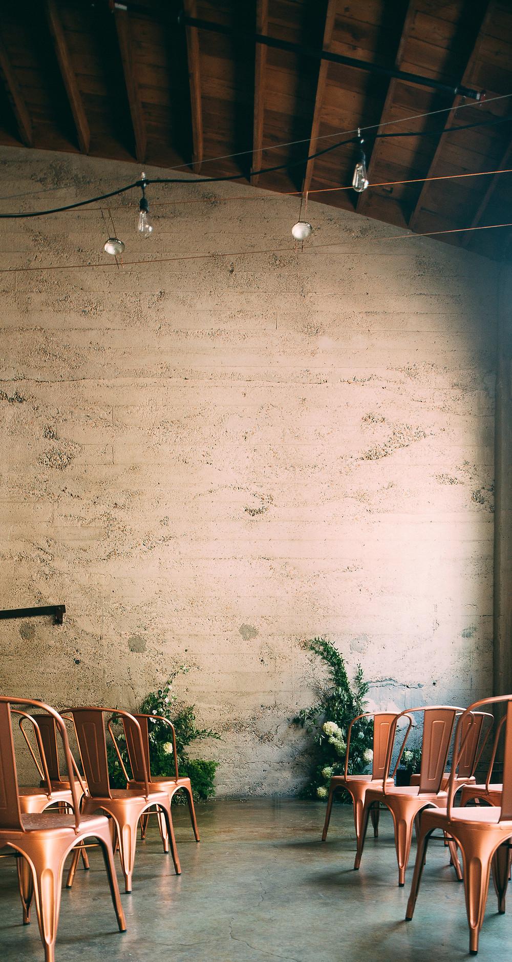 indoor wedding ceremony location at Luce Loft wedding