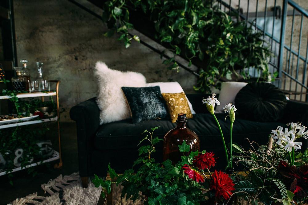 garden inspired lounge area at Luce Loft wedding
