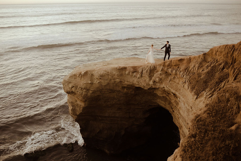 Iconic Bride and Groom photo at Sunset Cliffs