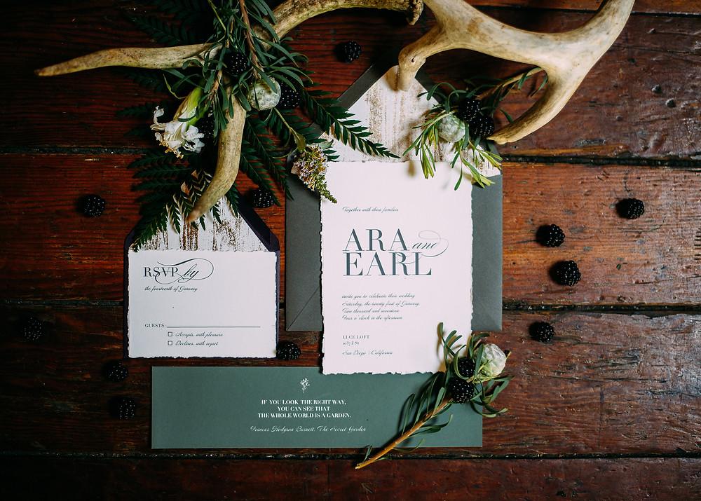 earthy wedding invitations for Luce Loft wedding