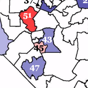 Map of key battleground districts for the NC House in 2020, showing 43 as a key one to hold and 45 as a key one to flip