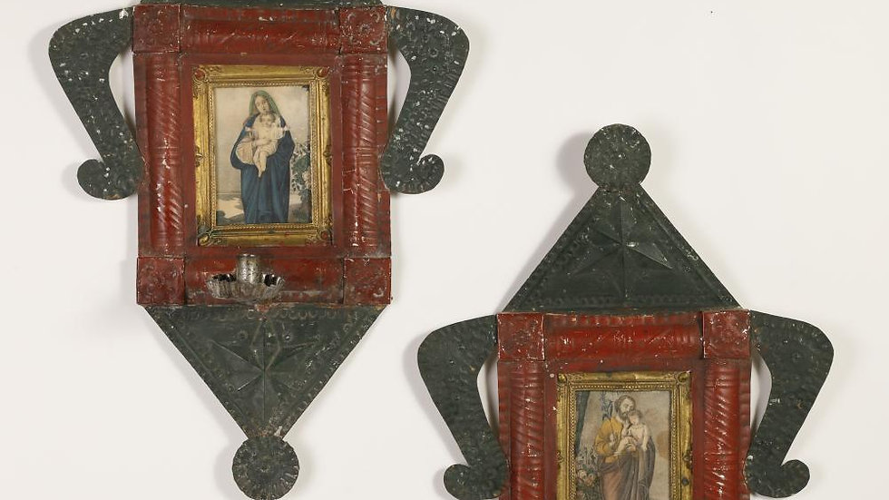 Pair of Tin Candle Sconces with Devotional Prints