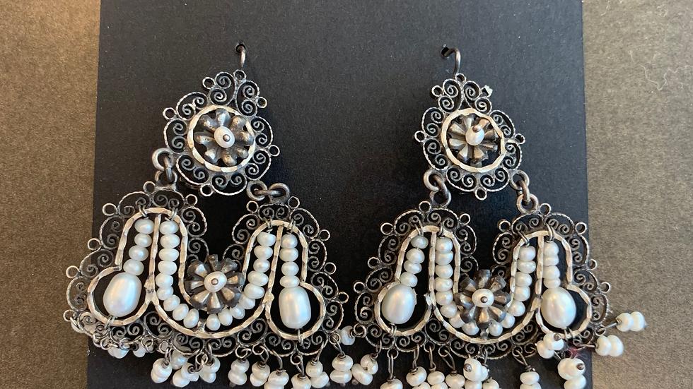 Federico Pearl Filigree Elaborate Earrings