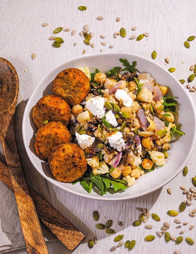 Roast Cauliflower, Date and Chickpea Naked Salad