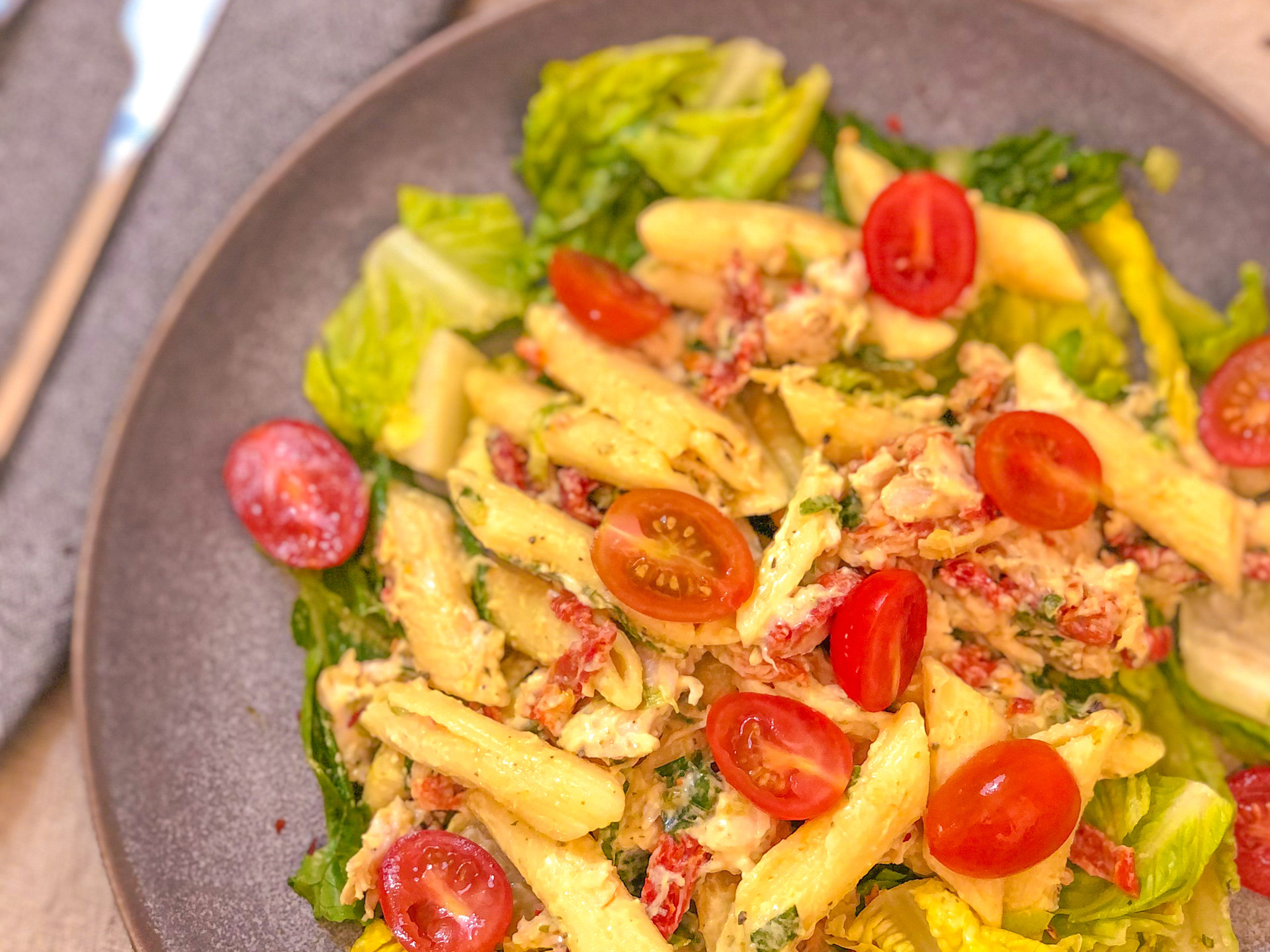 Lemon Penne Pasta with Chicken + Sundried Tomatoes