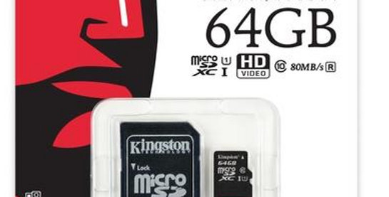 Cartão Micro SD Kingston 64Gb/128Gb