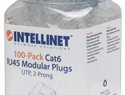 Conectores INTELLINET 100-Pack RJ45 Cat6 e Cat5