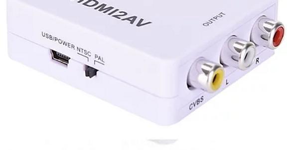 Conversor MINI de sinal HDMI para AV, HDMI para AV Video composto 3 RCA