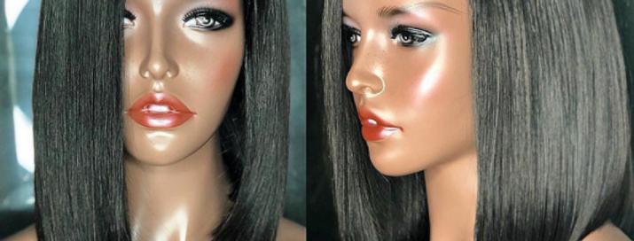 Peruca front lace de franja lateral de cabelo virgem brasileiro BOWIN 14 Pol.