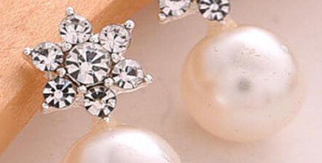 Brincos de cristal com pérola