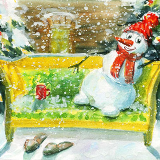 Снеговик на диване Обломова