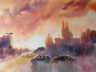 Новый город – в индиго, трамвай – на платке. Художник раскрасила Ульяновск по-новому