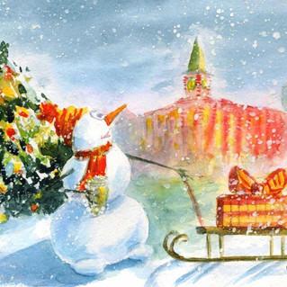 Снеговик и часы