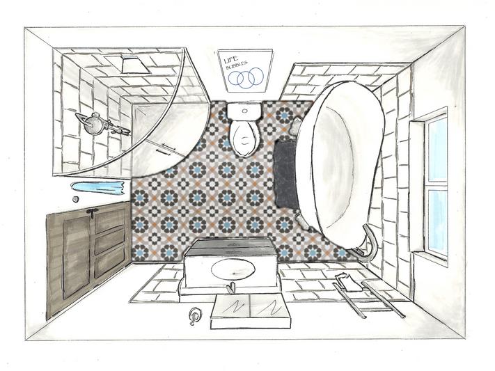 LEAMINGTON SPA Family bathroom - Sketch