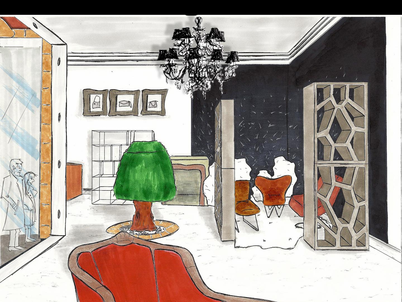 PARIS Leather shop - Sketch
