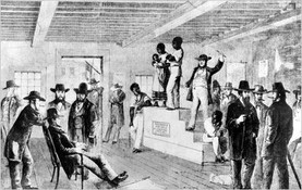 Slaves being auctioned at the market