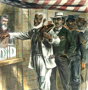 A freedman voting during Reconstruction