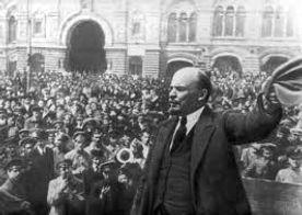 Lenin giving a speech in Petrograd