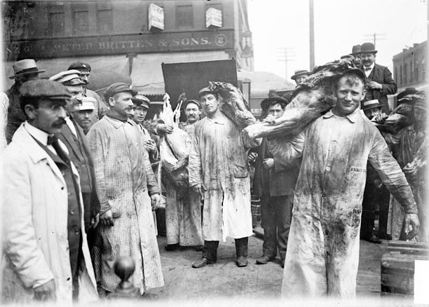Meatpacking workers in 1904