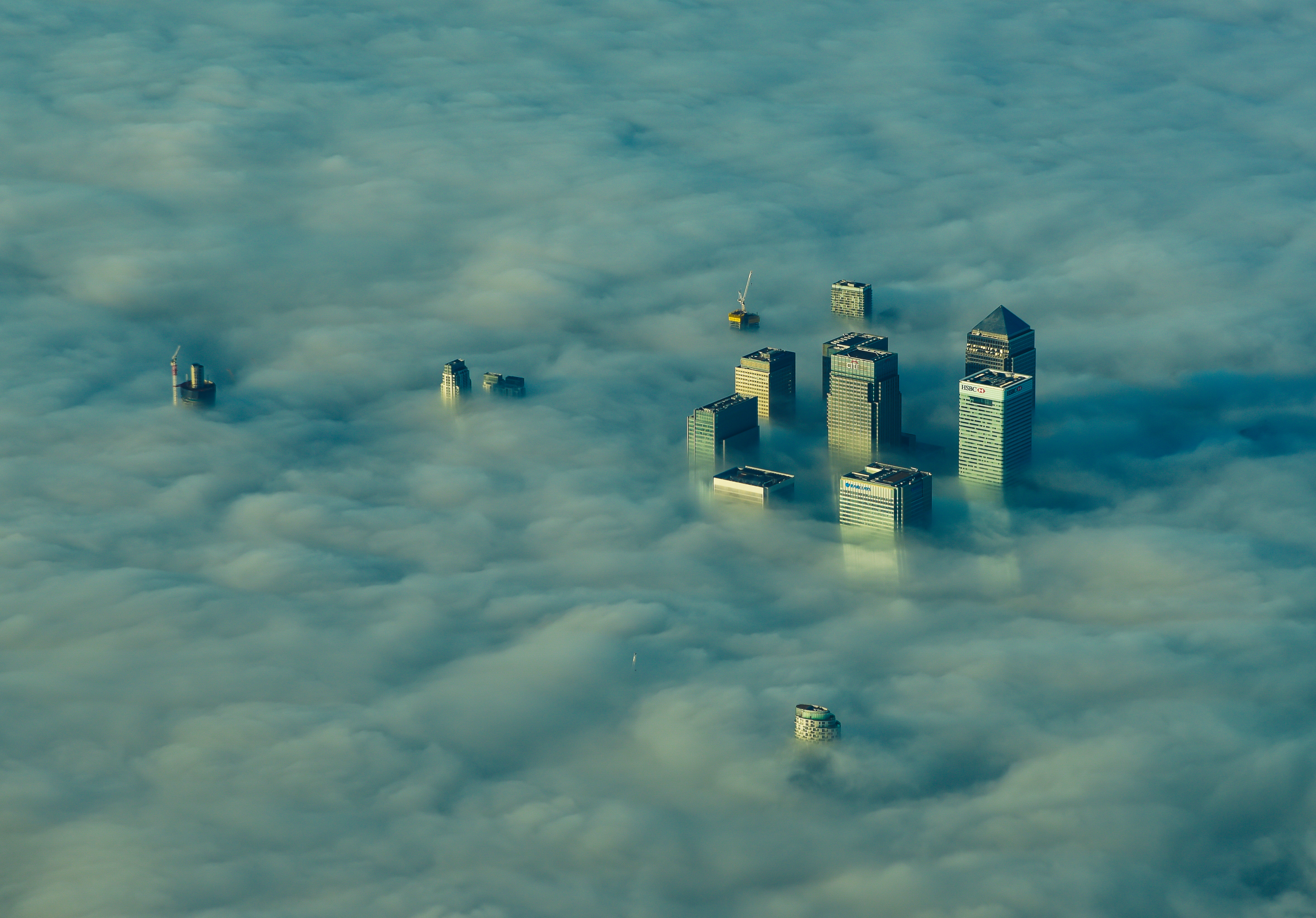 Canary Wharf in fog