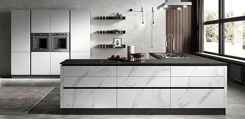Cucina in finitura marmo bianco