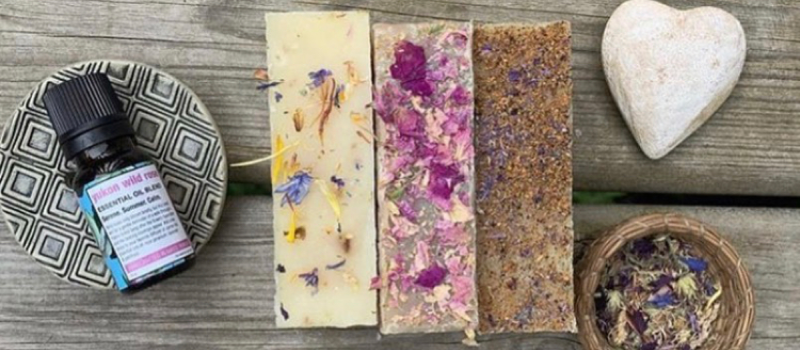 three bars of soap. oil, and lavender