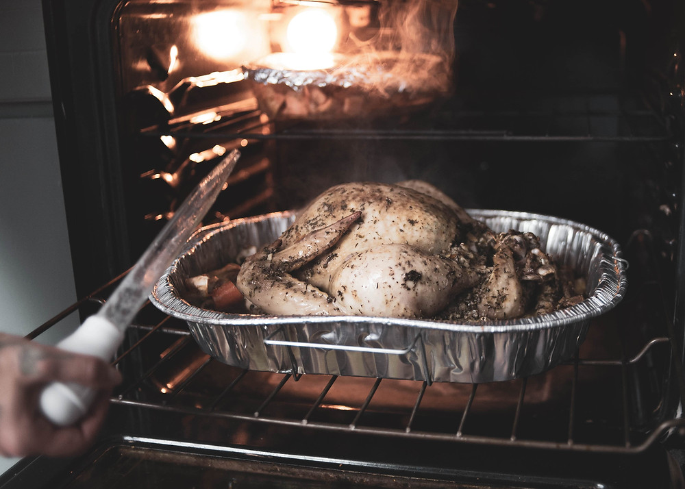 cooking a chicken in the oven