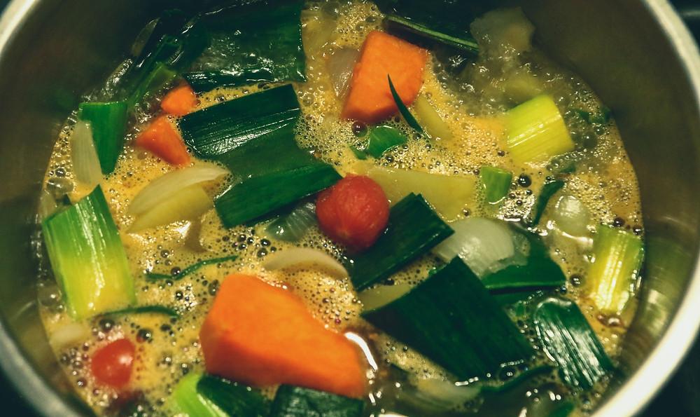 vegetables simmering in stock