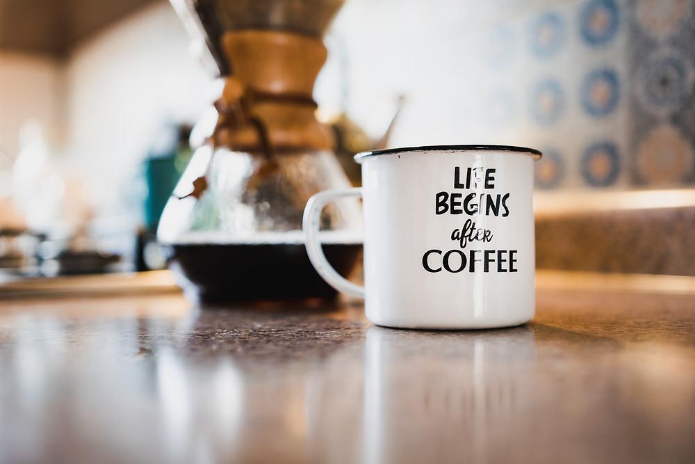calligraphy on coffee mug