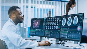 Medical Scientist Working with CT Brain