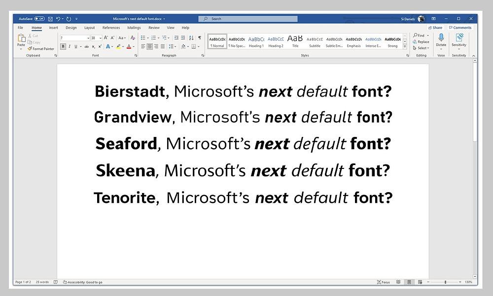 """Microsoft, hemen yeni bir görünüme alışmak yerine, seçenekleri değerlendirmek için kendine biraz zaman veriyor. Daniels, önde gelen yazım tasarımcılarından her biri varsayılan bir yazı tipinin ne olabileceğine yeni bir bakış getiren beş yeni yazı tipi görevlendirdi: Tenorite, yuvarlak noktalama işaretleriyle net ve daireseldir. Bierstadt, yüzyıl ortası İsviçre tipografisine saygı duruşunda bulunarak daha ölçülüdür. Skeena """"hümanist"""" bir seriftir; Grandview, bir """"endüstriyel"""" olanı. Seaford, koltukların şeklinden ilham alıyor: """"rahat aynı zamanda, ergonomik"""""""