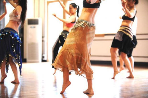Bellydance class in studio shot