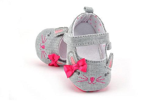 Pink Kitty Newborn Shoes