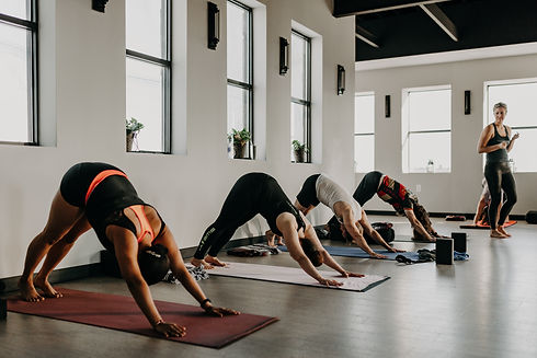 Yoga students working out in full lotus yoga