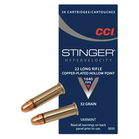 CCI Stinger 22LR 32gr HP 1640fps 50ct