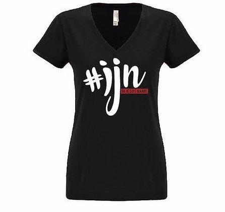 Women's V-Neck #IJN Short Sleeve T-Shirt